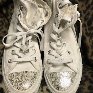 White and silver converse